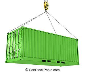 zöld, konténer, rakomány, hoisted