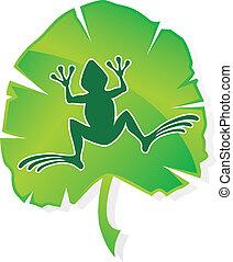 zöld lap, béka
