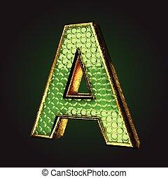 zöld, levél, arany