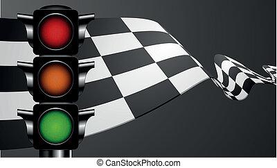 zöld lobogó, versenyzés, fény