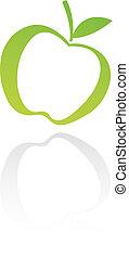 zöld, megtölt rajzóra, alma