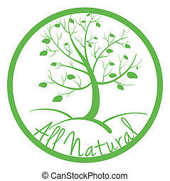 zöld, minden, természetes, címke