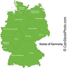 zöld, németország, térkép
