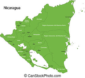 zöld, nicaragua, térkép