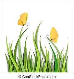 zöld, pillangók, fű, határ
