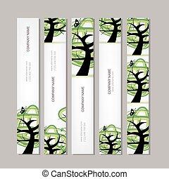 zöld, szalagcímek, állhatatos, fa, függőleges