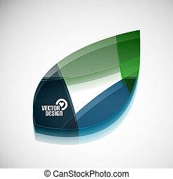 zöld, vektor, levél növényen, sima, 3