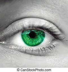 zöld, vektor, szem, macro., női