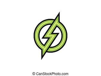 zöld, vektor, tervezés, elektromos, jel
