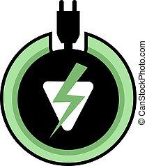 zöld, villamos energia, ikon