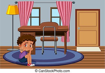 zúz, fiú, egyedül, bús, ülés, színhely, szoba