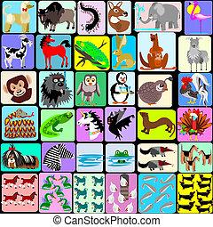z, állatok, karikatúra