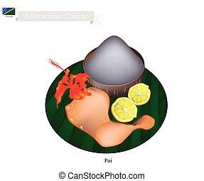 zabkása, solomonian, hagyományos, leves, poi, vagy