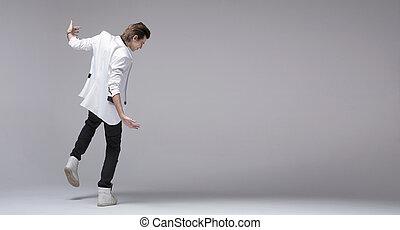 zakó, fiú, jelentékeny, egyedül, tánc