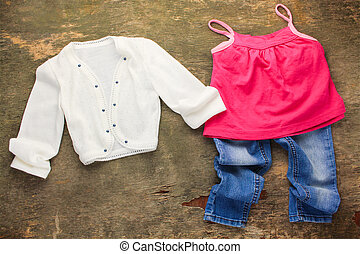 zakó, ing, gyermekek, jeans., öltözet, nézet., tető