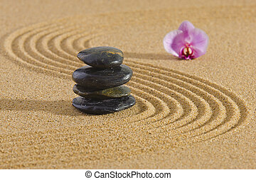 zen, csiszol, japanese kert, kazalba rakott