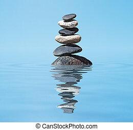 zen, -, elmélkedés, kazal, kiegyensúlyozott, háttér, visszaverődés, csiszol, víz