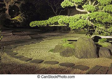 zen kert, éjszaka