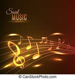 zene, arany-, poszter, bever, hangjegy