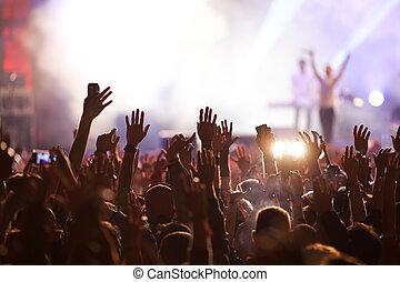 zene, -, egyetértés, nyár, fesztivál, tolong