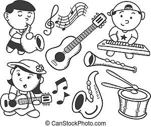 zene, gyermekek játék