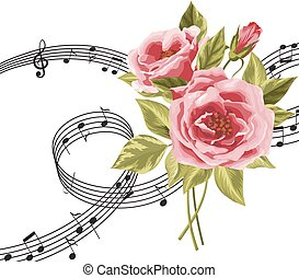 zene, hangjegy., agancsrózsák, piros