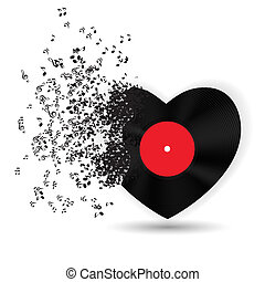 zene, hangjegy., vektor, kártya, valentines, szív, nap, boldog, ábra