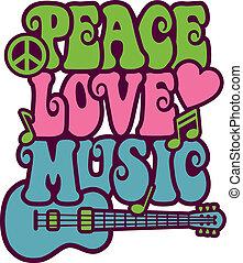 zene, szeret, béke