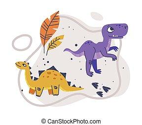 zenemű, élőlény, liget, furcsa, dinoszauruszok, csinos, vektor, ragadozó, történelem előtti, komikus, jura-beli, ábra