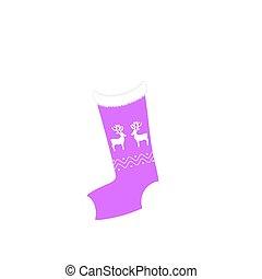 zokni, vektor, háttér, white christmas, ikon