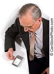 zseb, üzletember, öreg, számítógép