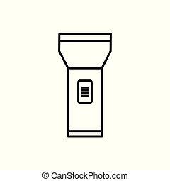 zseblámpa, egyszerű, jelkép, tervezés, sovány megtölt, ikon