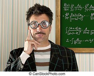 zseni, buta, bizottság, képlet, ember, nerd, matek, szemüveg