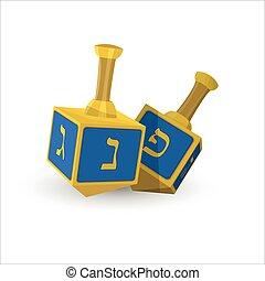 zsidó, hanukkah, dreidels, ünnep