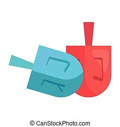 zsidó, ikonok, apró, szerencse, dreidels