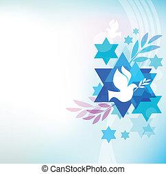 zsidó, jelkép, sablon, kártya