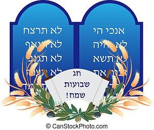 zsidó, shavuot, megkövez, ünnep, tabletta