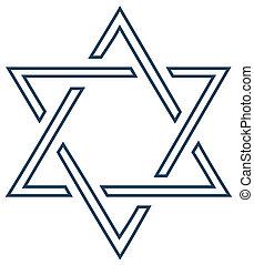 zsidó, tervezés, fehér, vektor, csillag