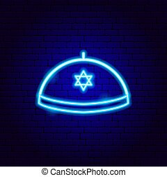 zsidó, yarmulke, aláír, kalap, neon