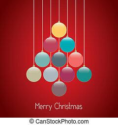 zsinór, herék, fa, háttér, karácsony, piros