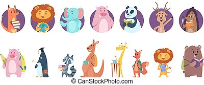zsiráf, avatars, olvas, könyv, izbogis, books., animal., oroszlán, csinos, vektor, vad, hát, betűk, állatok, hord, felolvasás, disznó
