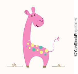 zsiráf, rózsaszínű
