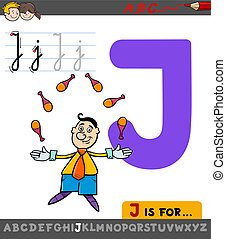 zsonglőr, j, karikatúra, levél, worksheet